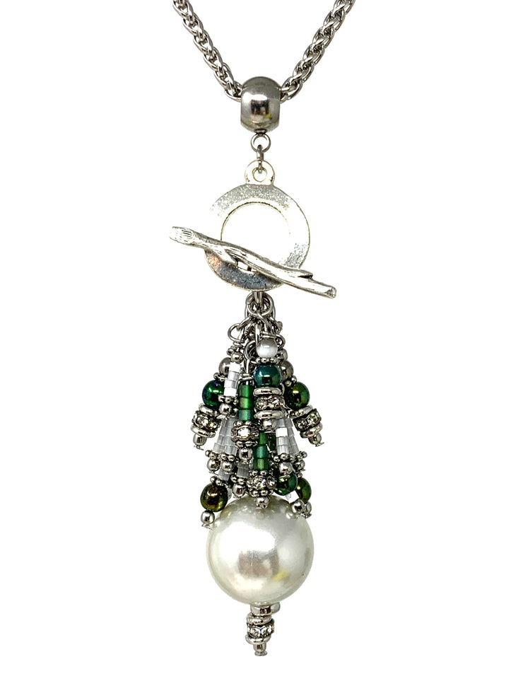 Evergreen and White Holiday Swarovski Pearl Beaded Cluster Dangle Pendant #2418D - Bead Dangle Design