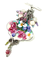 Hand Painted Lampwork Glass Enamel Floral Beaded Cluster Dangle Pendant #2419D