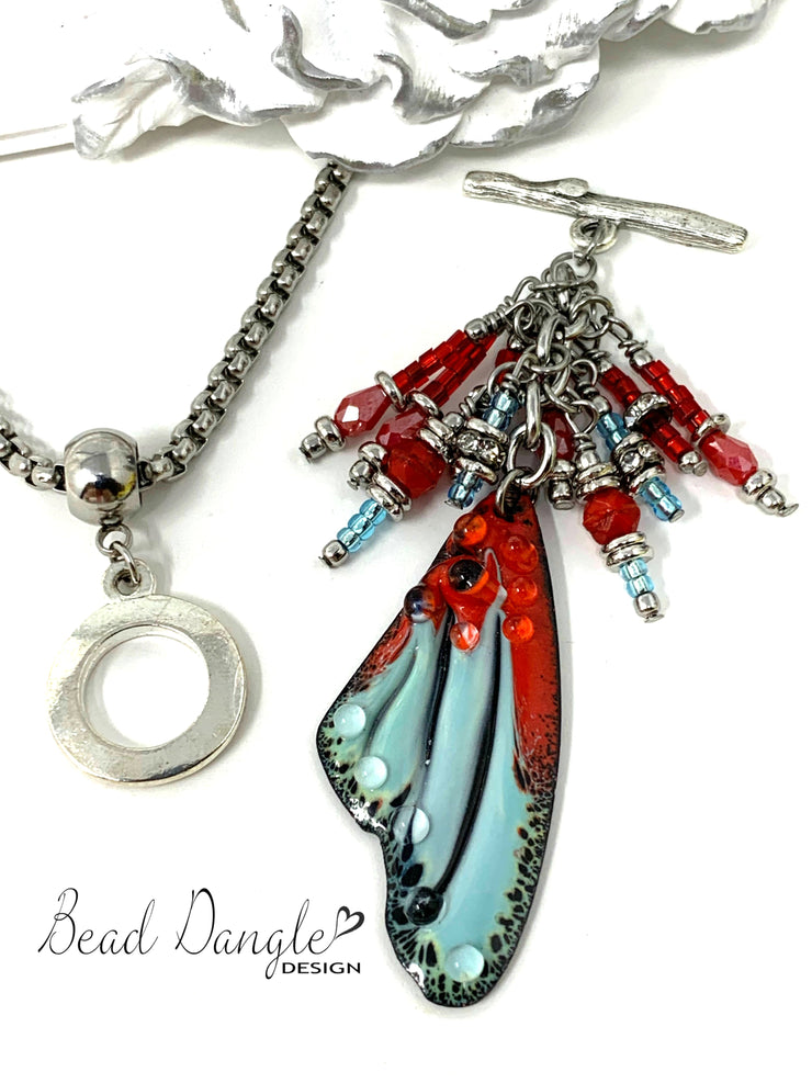 Hand Painted Lampwork Glass Angel Wing Beaded Cluster Dangle Pendant #2422D