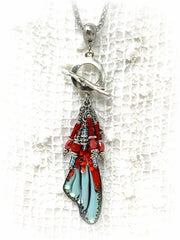 Hand Painted Lampwork Glass Angel Wing Beaded Cluster Dangle Pendant #2422D - Bead Dangle Design