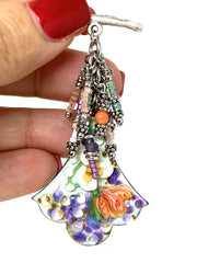 Hand Painted Lampwork Glass Floral Beaded Enamel Cluster Dangle Pendant #2423D