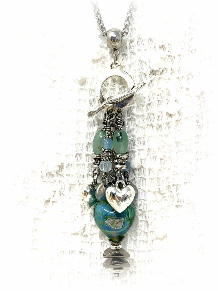 Lampwork Glass Dichroic Heart Beaded Cluster Dangle Pendant #2424D