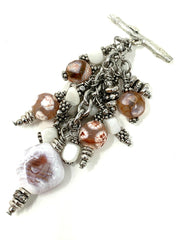White and Peach Agate Beaded Cluster Dangle Pendant #2428D - Bead Dangle Design