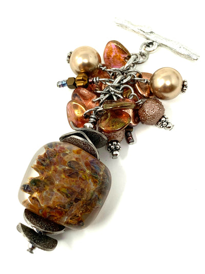 All The Bronze Lampwork Glass Beaded Cluster Dangle Pendant #2431D