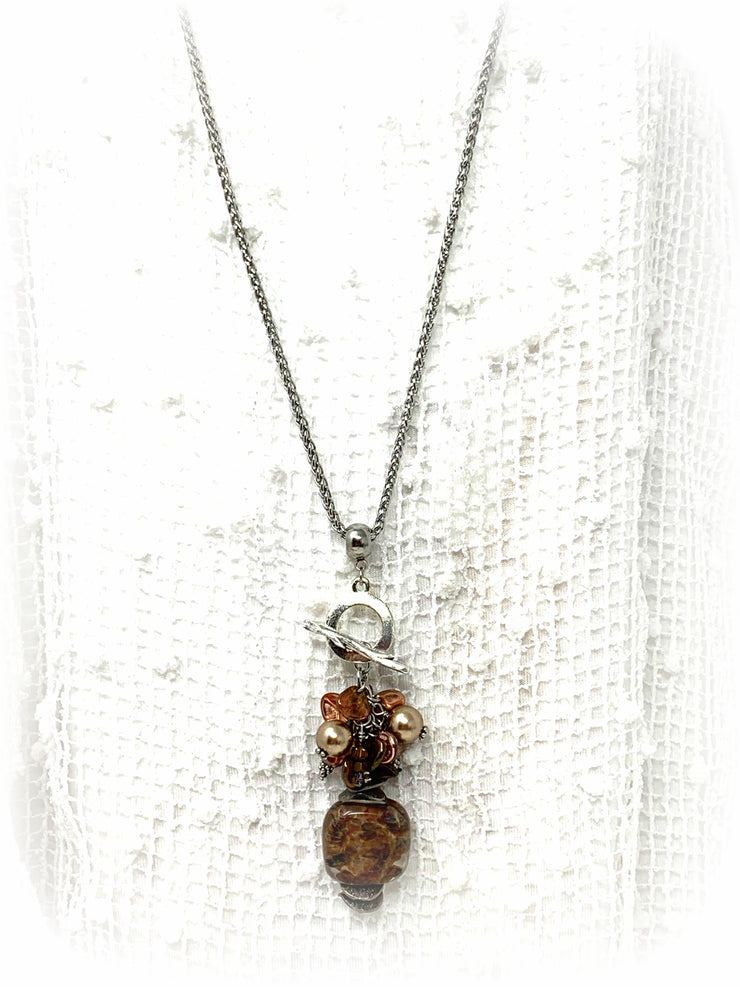 All The Bronze Lampwork Glass Beaded Cluster Dangle Pendant #2431D - Bead Dangle Design