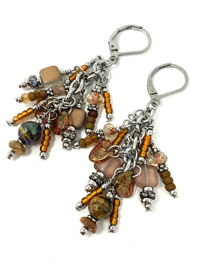Druzy Quartz and Czech Glass Beaded Dangle Lever Back Earrings #1050E - Bead Dangle Design