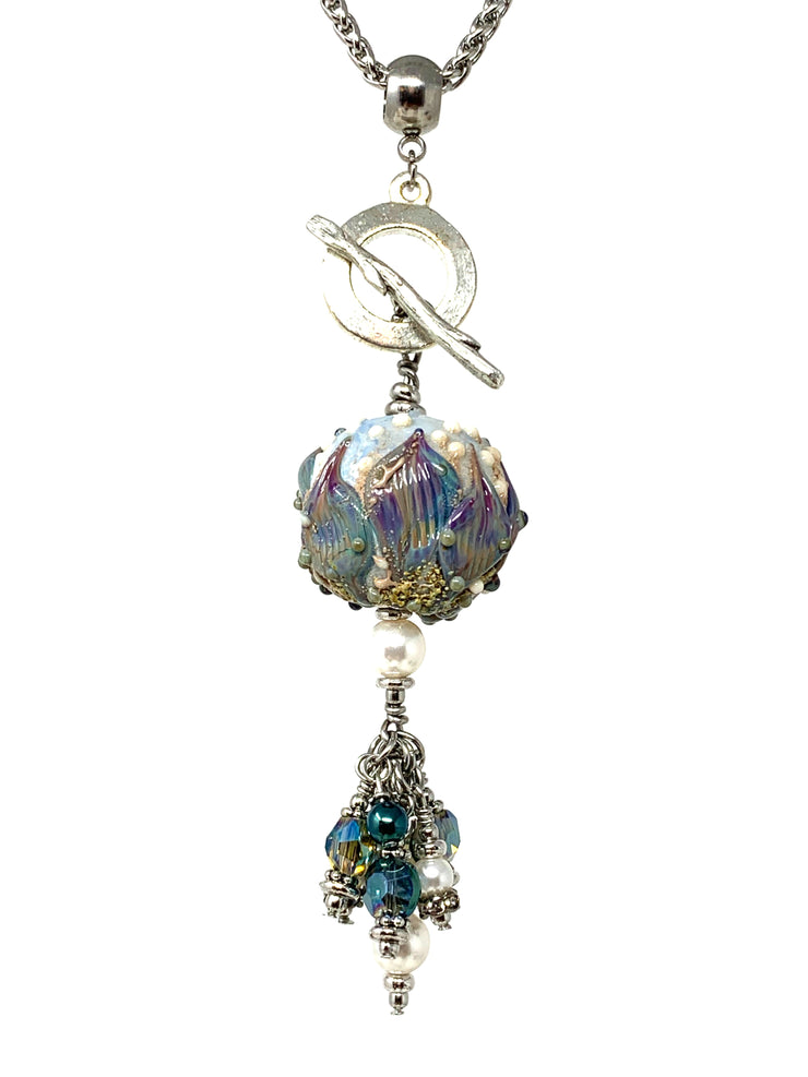 Oh So Pretty Pearl Lampwork Glass Beaded Cluster Dangle Pendant #2434D - Bead Dangle Design