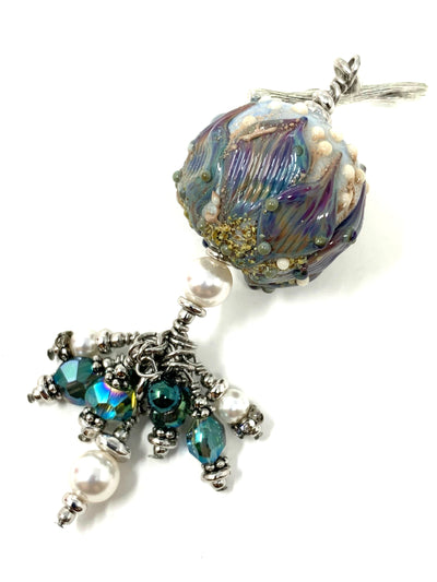 Oh So Pretty Pearl Lampwork Glass Beaded Cluster Dangle Pendant #2434D
