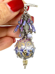 Polymer Clay Crystal Beaded Pendant Necklace #1645D, Pendant, Bead Dangle Design - Bead Dangle Design