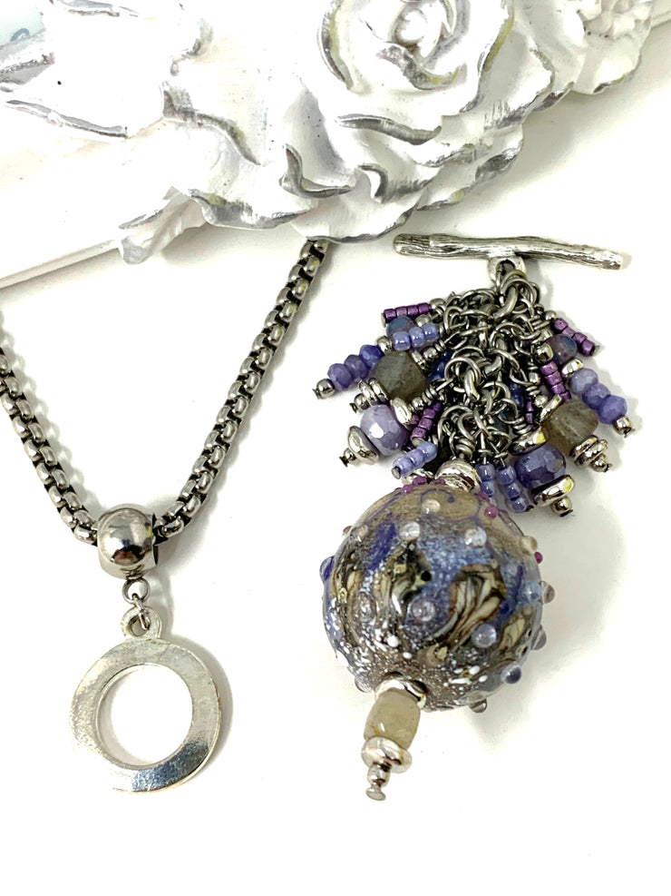 Lavender Lampwork Glass and Moonstone Beaded Cluster Dangle Pendant #2437D - Bead Dangle Design