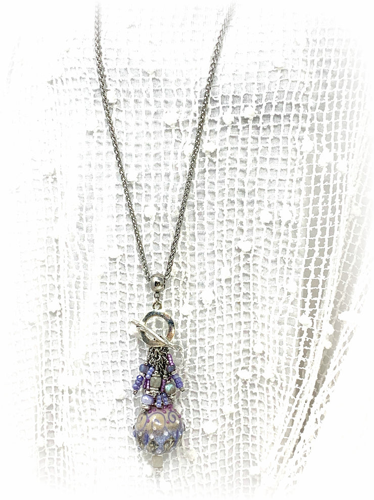 Etched Flourite Beaded Pendant Necklace #1643D, Pendant, Bead Dangle Design - Bead Dangle Design