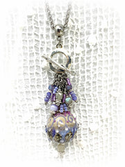 Butterfly Abalone Beaded Pendant Necklace #1641D, Pendant, Bead Dangle Design - Bead Dangle Design