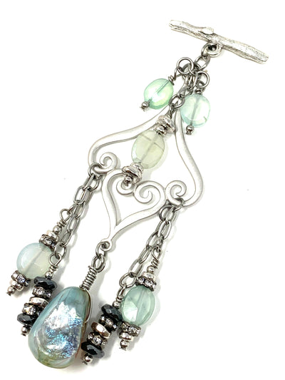 Handmade Lampwork Dichroic Glass and Chalcedony Beaded Cluster Dangle Pendant #2447D