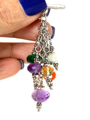 Colorful Faceted Gemstone Beaded Cluster Dangle Pendant #2453D - Bead Dangle Design