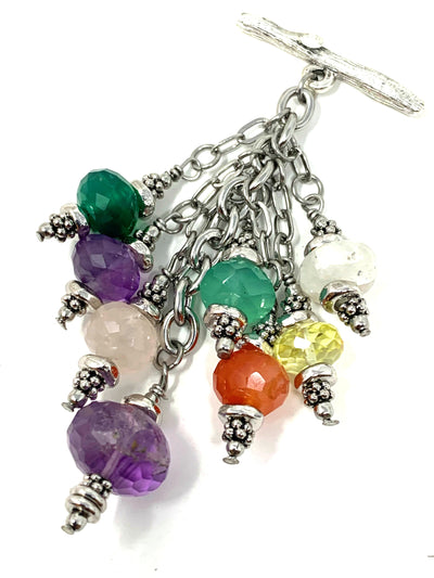 Colorful Faceted Gemstone Beaded Cluster Dangle Pendant #2453D