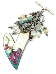Painted Enamel Heart Beaded Cluster Dangle Pendant #2446D - Bead Dangle Design