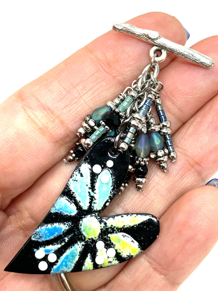 Painted Enamel Floral Heart Beaded Cluster Dangle Pendant #2440D