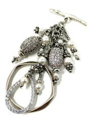Swarovski Pearl and Pave' Crystal Beaded Cluster Dangle Pendant #2443D - Bead Dangle Design