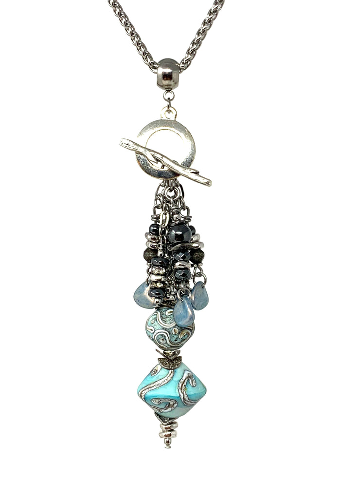 Turquoise Swirl Lampwork Glass and Hematite Beaded Cluster Dangle Pendant #2450D
