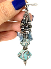 Turquoise Swirl Lampwork Glass and Hematite Beaded Cluster Dangle Pendant #2450D - Bead Dangle Design