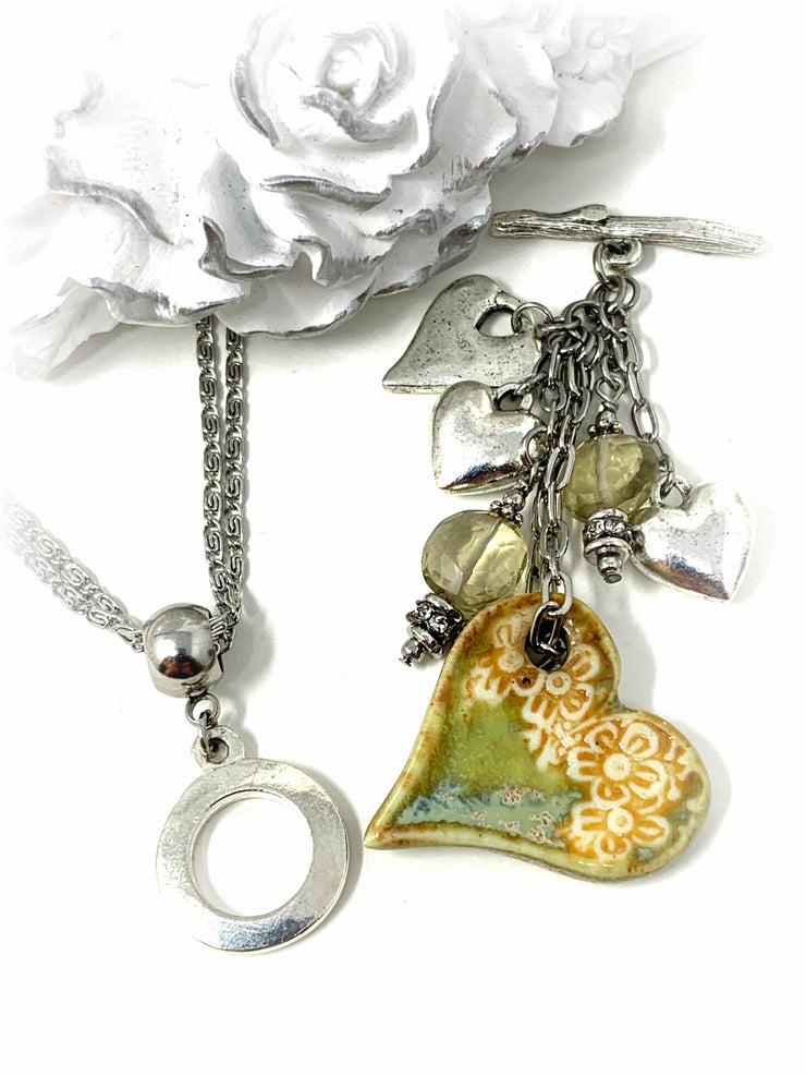 Handmade Porcelain Heart Beaded Cluster Dangle Pendant #2447D