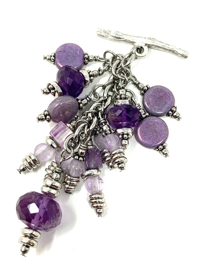Purple Faceted Amethyst Beaded Cluster Dangle Pendant #2451D