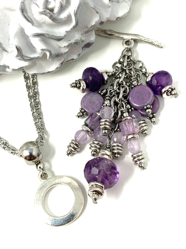 Purple Faceted Amethyst Beaded Cluster Dangle Pendant #2451D - Bead Dangle Design
