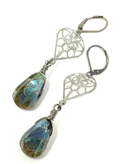 Dichroic Glass Beaded Lever Back Earrings #1052E - Bead Dangle Design