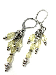 Faceted Citrine Beaded Cluster Lever Back Earrings #1053E