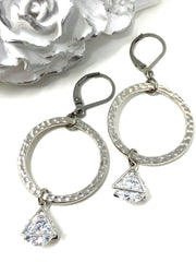 Hammered Rhodium Triangular Lever Back Crystal Earrings #1060E - Bead Dangle Design