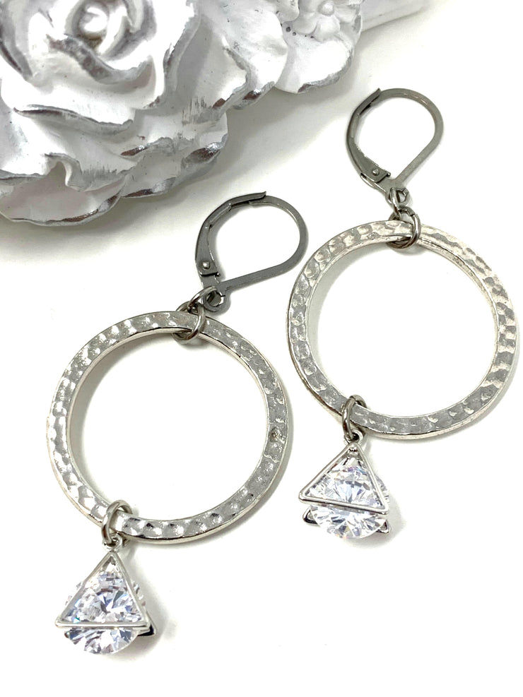 Hammered Rhodium Triangular Lever Back Crystal Earrings #1060E