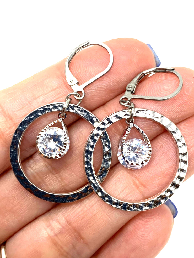 Hammered Rhodium and Crystal Beaded Lever Back Earrings #1056E - Bead Dangle Design