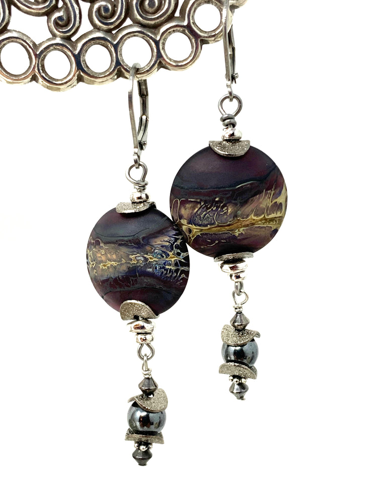 Lampwork Glass and Hematite Beaded Lever Back Earrings #1055E - Bead Dangle Design