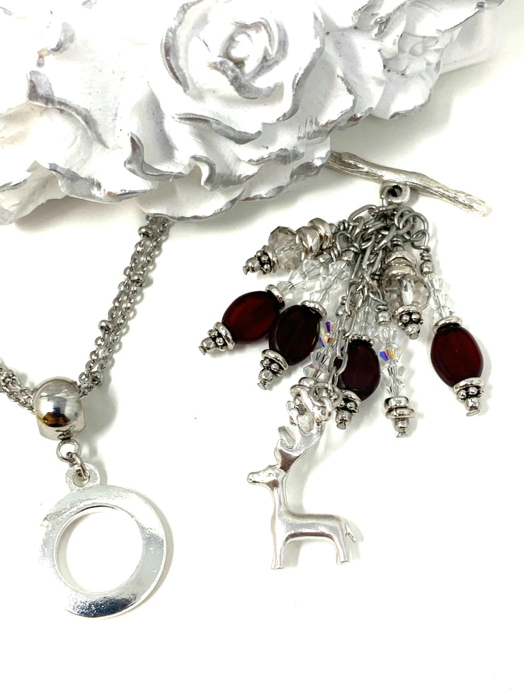 Cute Little Reindeer Swarovski Crystal Ruby Red Beaded Cluster Dangle Pendant #2454D