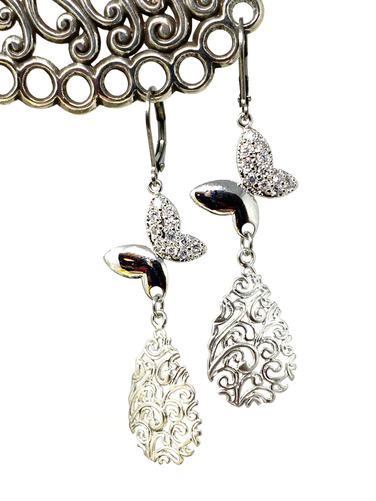 Butterfly Crystal Filigree Lever Back Crystal Earrings #1062E