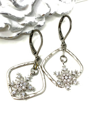 Hammered Rhodium Snowflake Lever Back Crystal Earrings #1063E - Bead Dangle Design