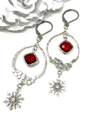 Faceted Ruby Snowflake Lever Back Dangle Crystal Earrings #1064E