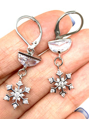 Crystal Quartz Snowflake Lever Back Crystal Earrings #1061E - Bead Dangle Design