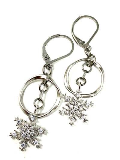 Snowflake Lever Back Dangle Crystal Earrings #1065E