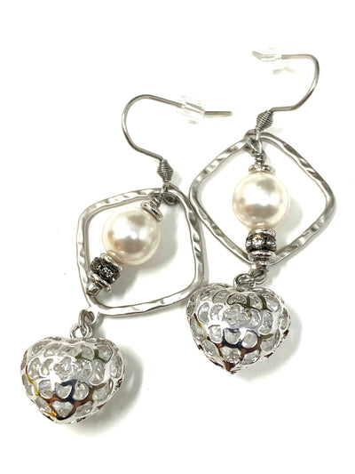 Crystal Filled Heart Swarovski Pearl Lever Back Dangle Earrings #1066E
