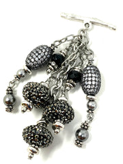 Black Pave' Crystal Beaded Cluster Dangle Pendant #2458D