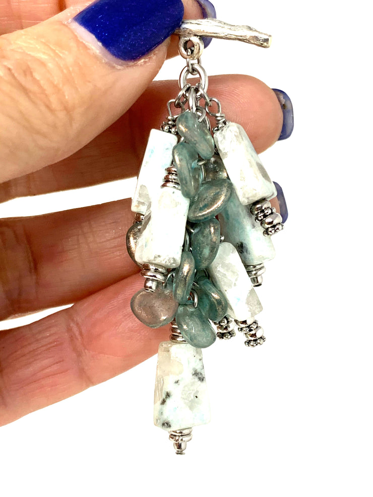 Speckled Jasper and Frosted Glass Beaded Cluster Dangle Pendant #2459D
