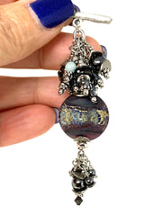 Lampwork Glass and Hematite Beaded Cluster Dangle Pendant #2460D - Bead Dangle Design