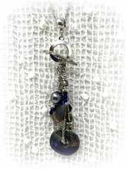 Boho Chic Raku Beaded Cluster Dangle Pendant #2463D - Bead Dangle Design