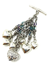 Cascading Heart Faceted Crystal Beaded Cluster Dangle Pendant #2462D - Bead Dangle Design