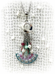 Painted Enamel Swarovski Pearl Beaded Cluster Dangle Pendant #2467D