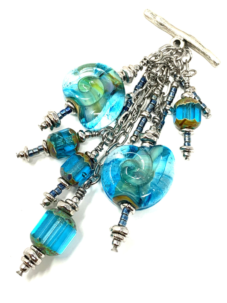 Turquoise Swirl Lampwork Glass Beaded Cluster Dangle Pendant #2468D