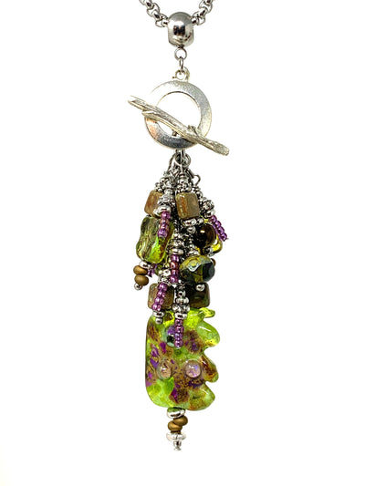 Deep Green and Fuchsia Lampwork Glass Beaded Cluster Dangle Pendant #2467D - Bead Dangle Design