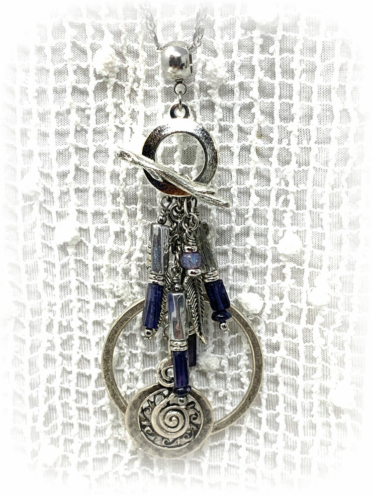 Boho Chic Iolite Pewter Leaf Beaded Cluster Dangle Pendant #2472D
