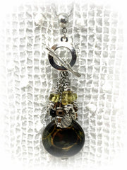 Brown and Gold Agate and Citrine Beaded Cluster Dangle Pendant #2470D - Bead Dangle Design